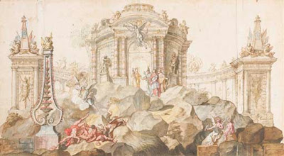 Designs by Giovanni Niccolo Servandoni who was to have designed Handel & Smollett's Alceste