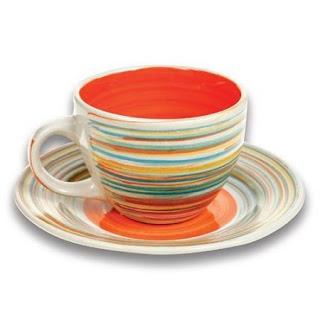 Set de 6+6 cesti si farfurii pt ceai culoare portocalie