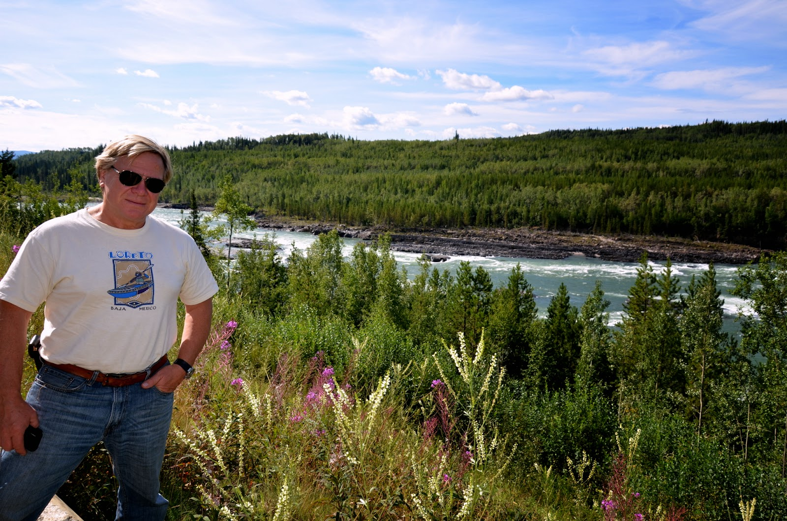 Anders at the rapids in Liard River