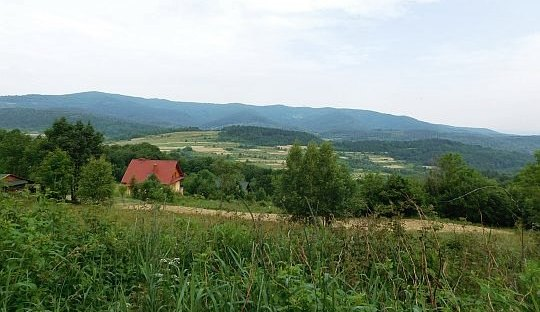Widok na wschodnią część Beskidu Małego z podejścia na Żurawnicę.
