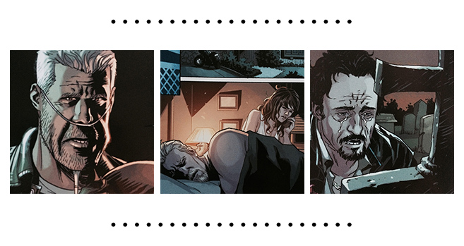 Close-up de trois dessins des Sons of Anarchy