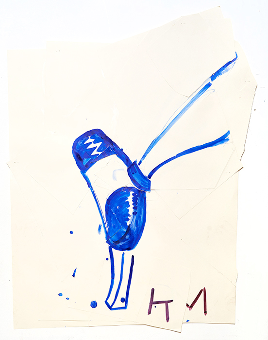 Rose Wylie Blue Shoe with Shine (KM), 2015 watercolor and collage on paper 99 x 72 cm