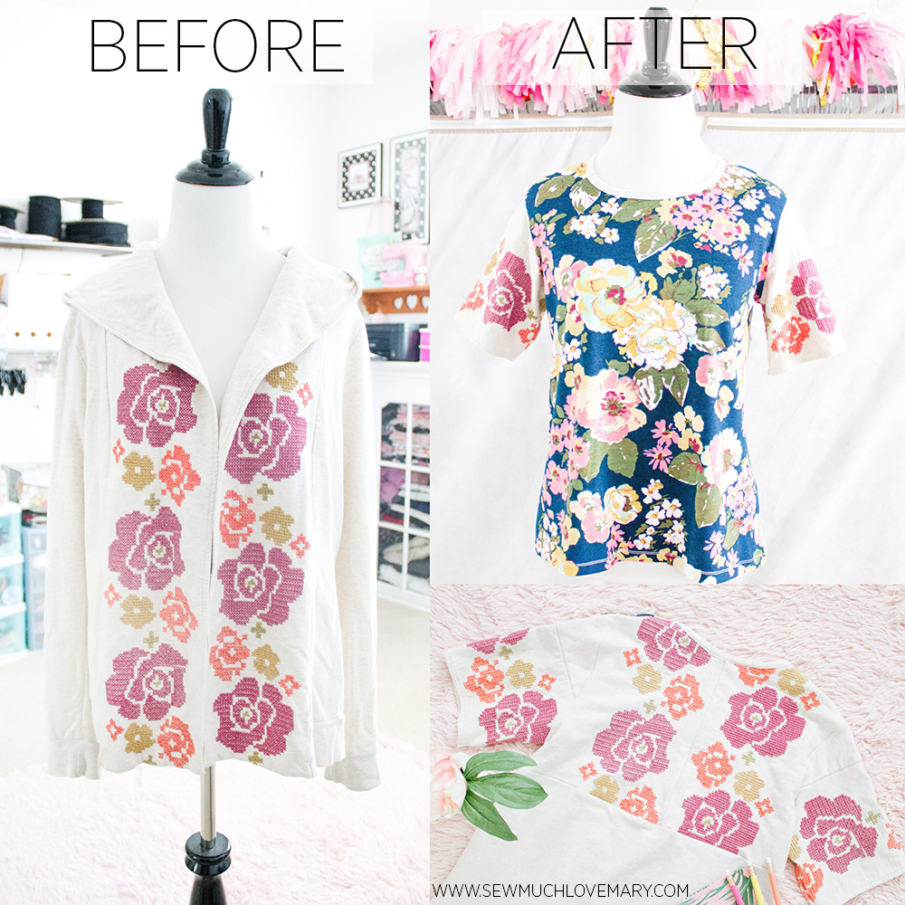 hooded cardigan to floral summer top before after