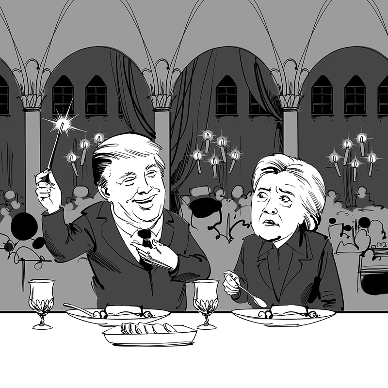 american political caricature donuld trump hillary clinton