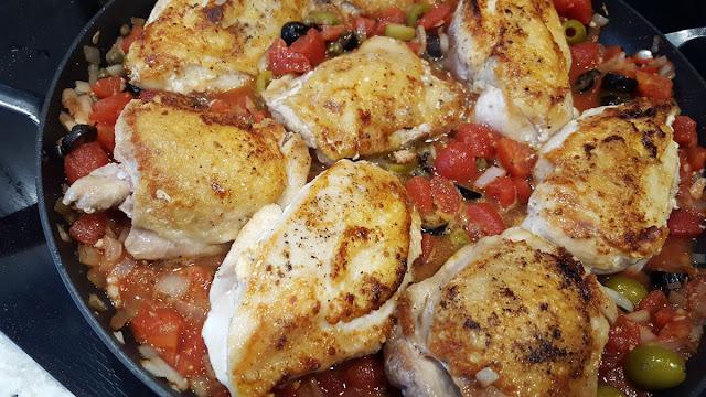 Mediterranean Chicken Cooking in a Skillet