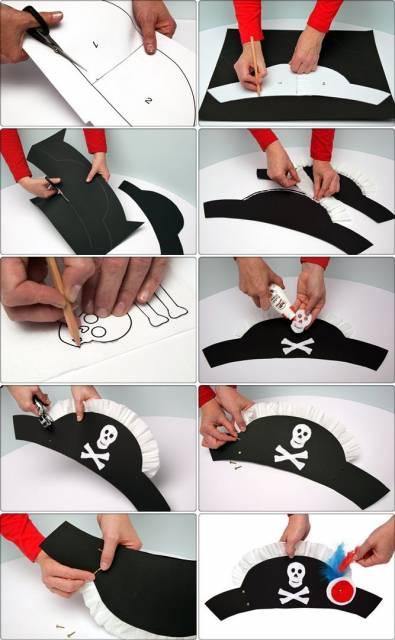 Em um papel risque o molde do chapéu e desenhe o contorno no color set.  Recorte duas unidades do formato do chapéu. Na ponta arredondada (das duas  partes) ... b9531cf2028