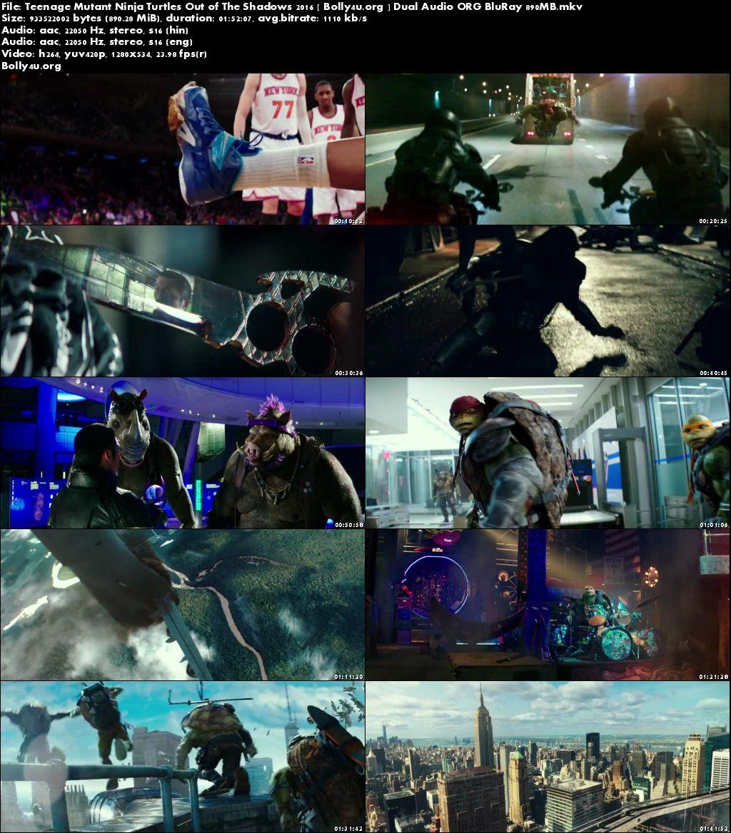 Teenage Mutant Ninja Turtles Out of The Shadows 2016 BRRip 900MB Dual Audio ORG