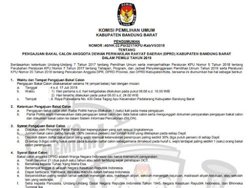 Syarat pendaftaran caleg Kabupaten Bandung Barat
