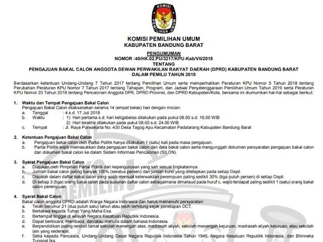 Pendaftaran Bakal Calon DPRD Kabupaten Bandung Barat Pemilu 2019