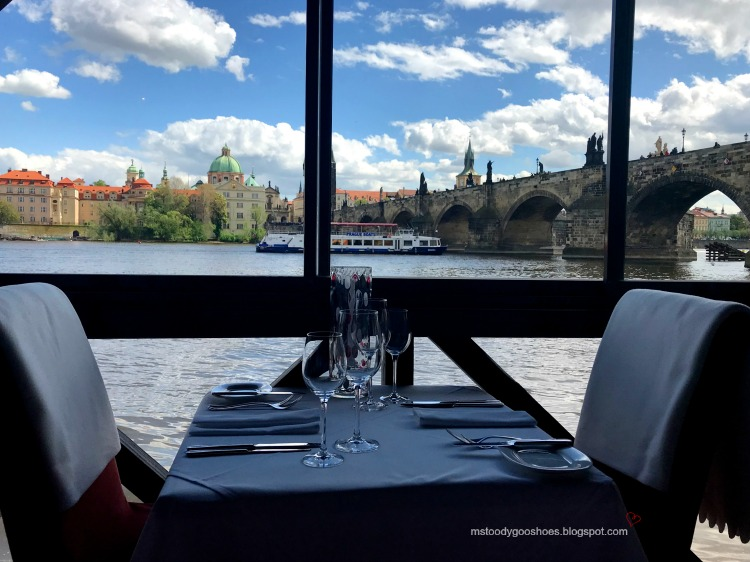 The view from Kampa Park Restaurant in Prague| Ms. Toody Goo Shoes #prague #kampaparkrestaurant #danuberivercruise