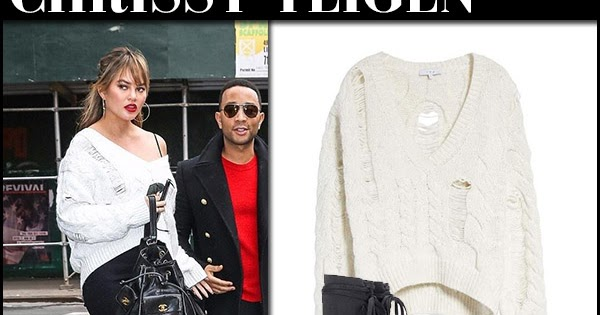 45550ff711 Chrissy Teigen in white distressed sweater and black ankle boots in NYC on  December 15 ~ I want her style - What celebrities wore and where to buy it.