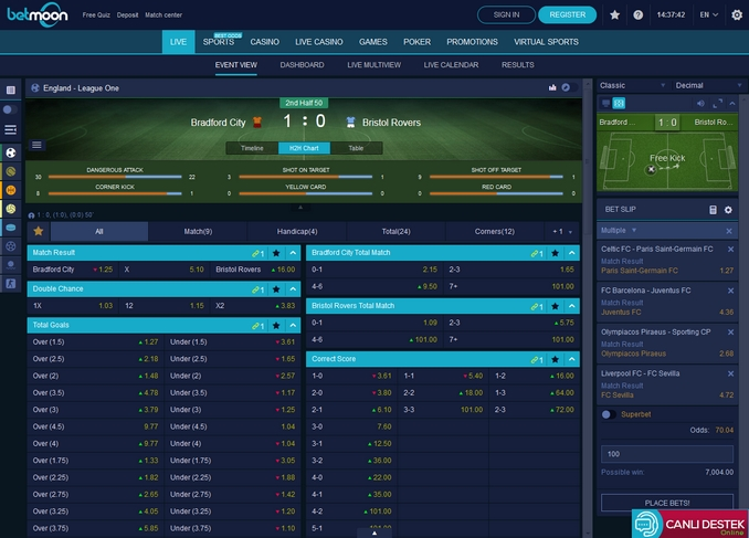 Betmoon Live Betting Screen