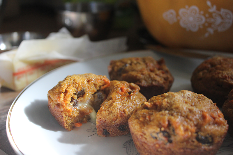 Pumpkin carrot muffins, moist and delicious.
