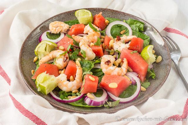Wassermelonen-Garnelen-Salat