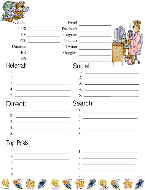 Be a better blogger by tracking what's working and what's not each month with this printable analytics tracking sheet. You'll be glad to see how well you did right alongside these cute working bears.