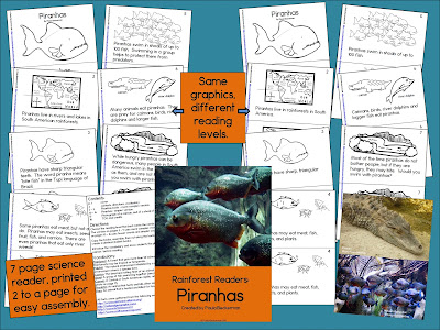 https://www.teacherspayteachers.com/Product/Rainforest-Readers-Piranhas-Guided-Reading-Book-1782868
