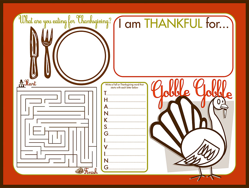 picture about Printable Thanksgiving Place Mats called Thanksgiving Match Position Mat Printable - The Lindsay Ann