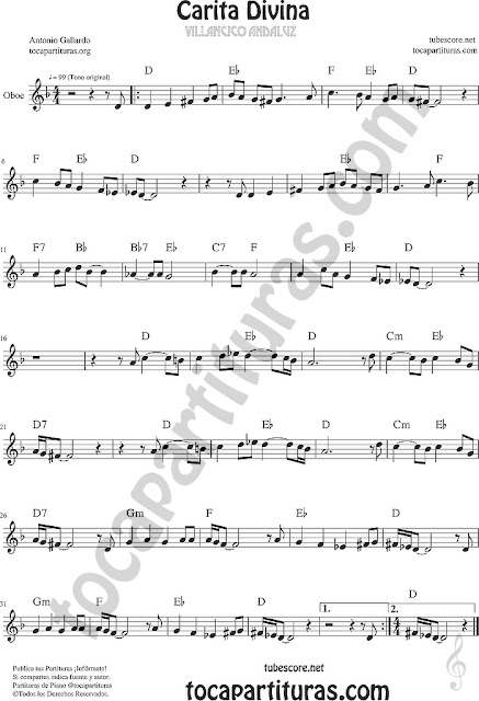 Partitura de Carita Divina Oboe Partitura Sheet Music for Oboe Music Score