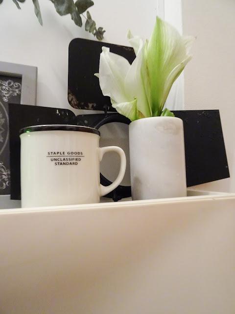 Amaryllis ja kahvimuki asetelma