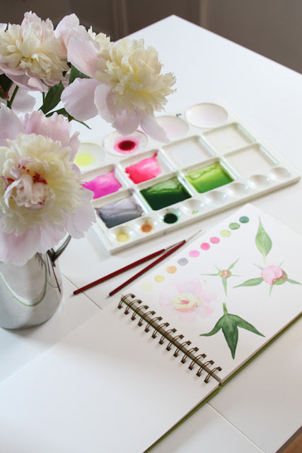 watercolor sketchbook, paint palette, peonies, Anne Butera, My Giant Strawberry