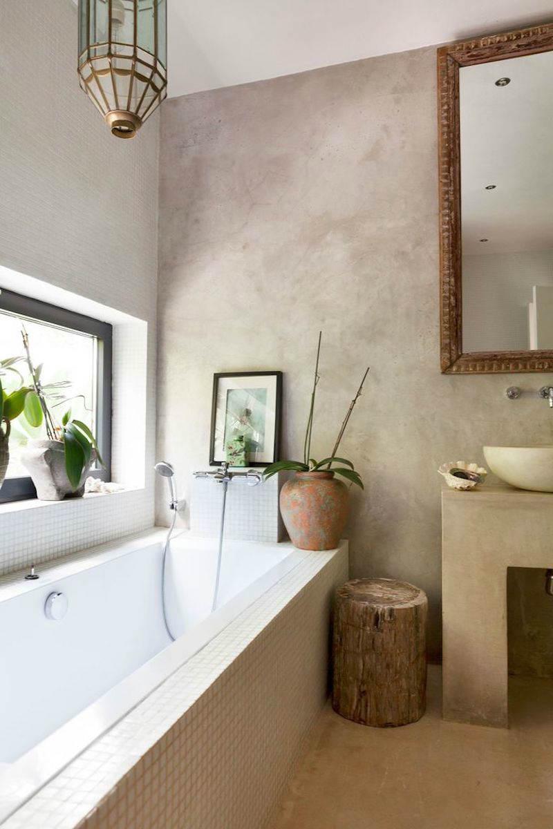 Baño de microcemento en casa de campo