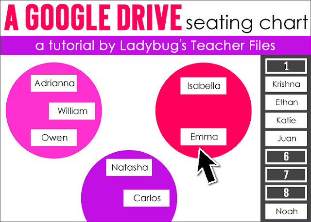 Tips on using an interactive classroom seating chart in Google Drive.