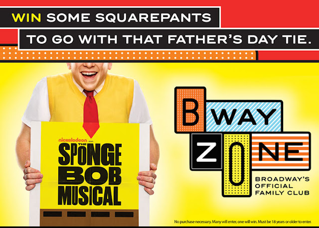 Viacom Media and BwayZone want kids parents to enter daily to win a vacation for 4 to attend the SpongeBob Musical premiere on Father's Day weekend, plus $500 CASH to spend!