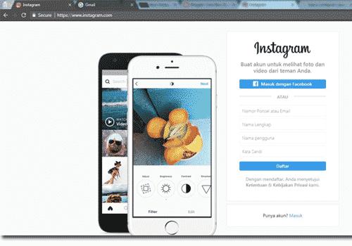 atau jikalau kau ingin daftar Instagram web di laptop sanggup saja memalsukan dari pola gambar d Buat Akun Instagram Lewat Google - Daftar Instagram Web di Laptop