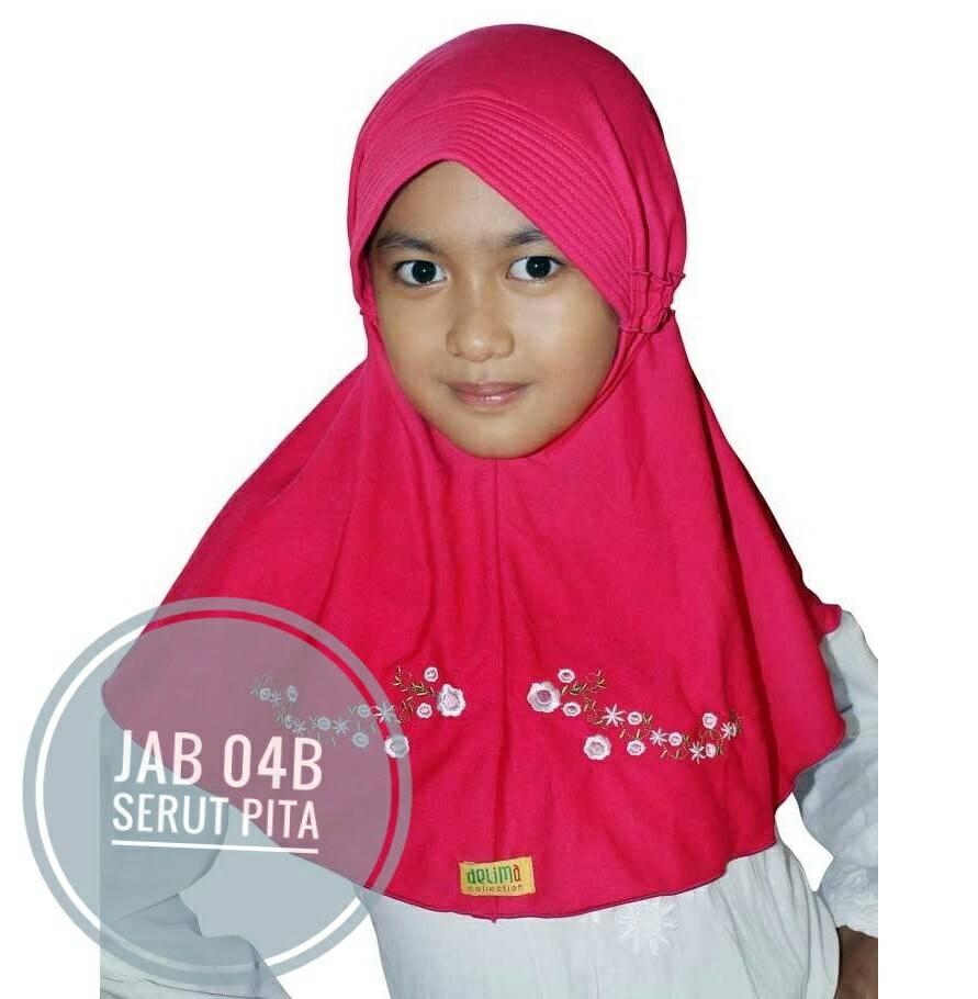 Jilbab Anak Delima Surabaya Dengan Serut Pita Jab 04b
