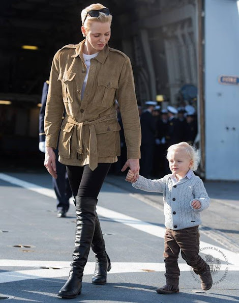 Princess Charlene wore Ralph Lauren Safari Jacket and Stuart Weitzman Boots. Prince Jacques