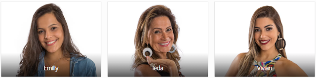 Vote no Paredão do BBB17  agora é para saber quem você quer que vença: EMILLY X IEDA X VIVIAN enquete de quem esta ganhando