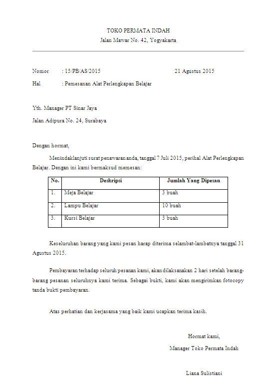 Contoh Surat Order Pembelian Informasi Seputar Dunia