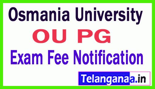 Osmania University PG  Exam Fee Notification Jan 2019