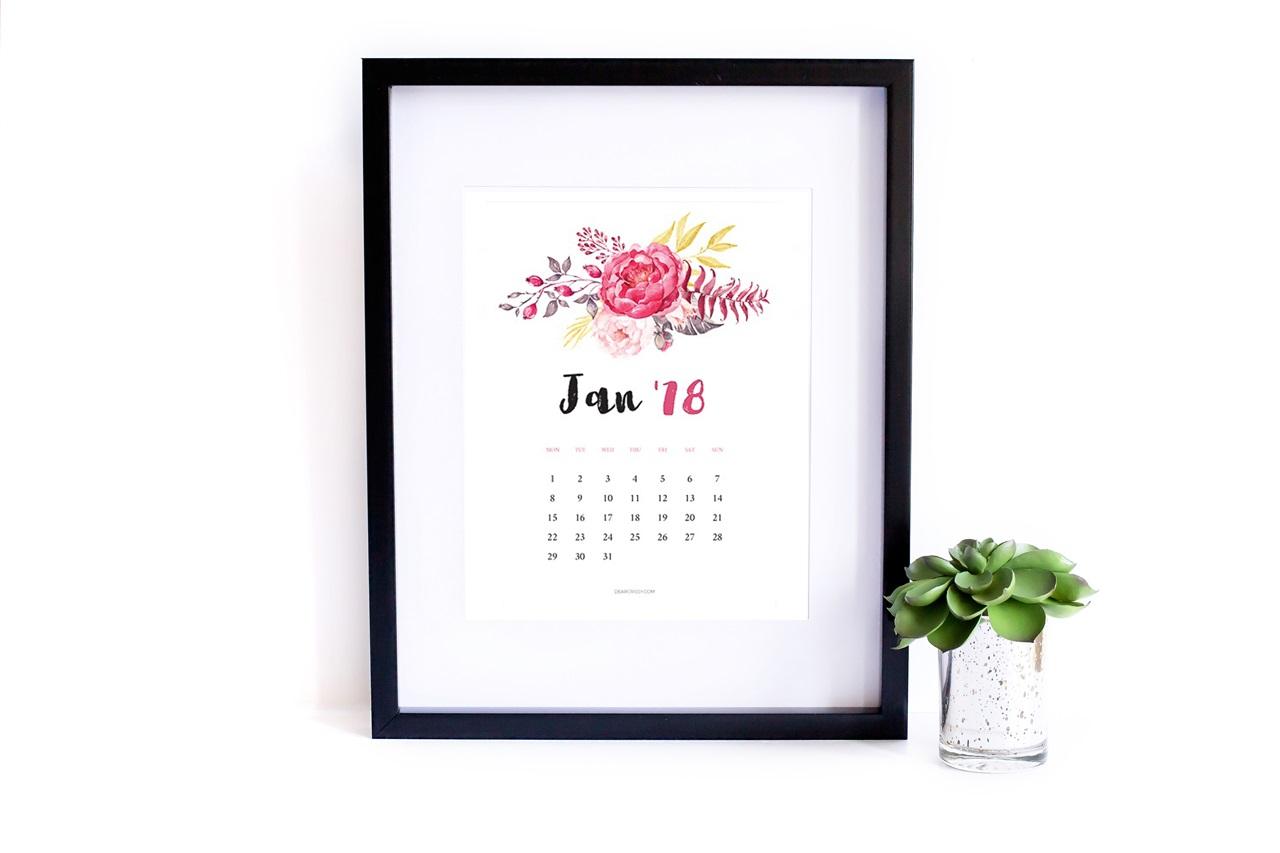 kalendarz 2018 z motywem kwiatowym