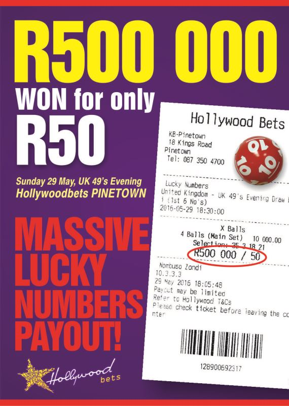 Big Lucky Numbers win at Hollywoodbets Pinetown - R500,000 for a R50 bet!