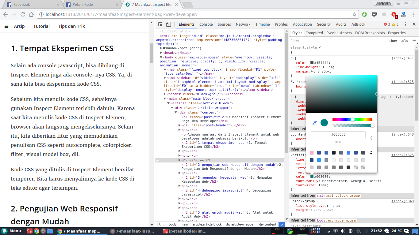 Edit CSS di Inspect Element