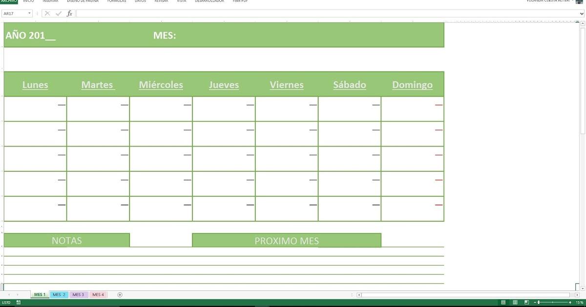 Hojas Excel Facil: : Hojas Del Mes Para Imprimir