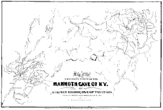Mapa de la Cueva del Mamut de 1842 por Stephen Bishop