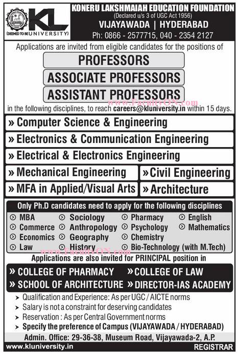 K L University, Vijayawada, Hyderabad, Wanted Teaching
