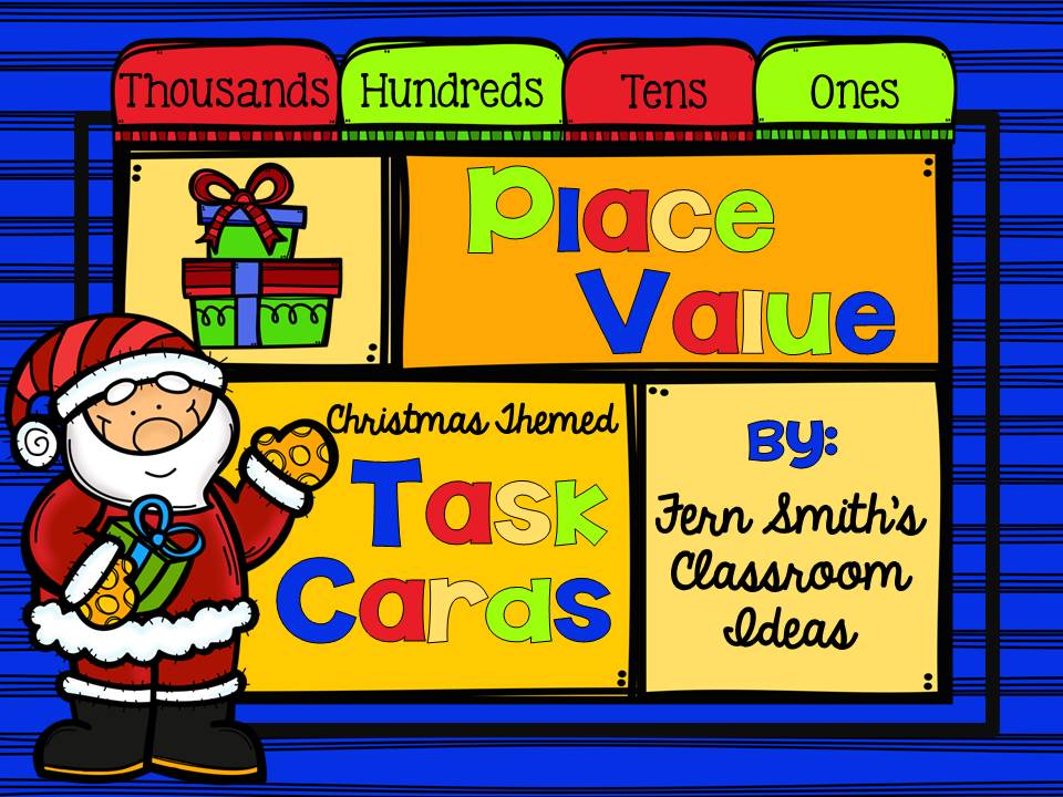 Fern Smith's Classroom Ideas Christmas Place Value - A Week's Worth of Place Value for Second and Third Grade, task cards only.