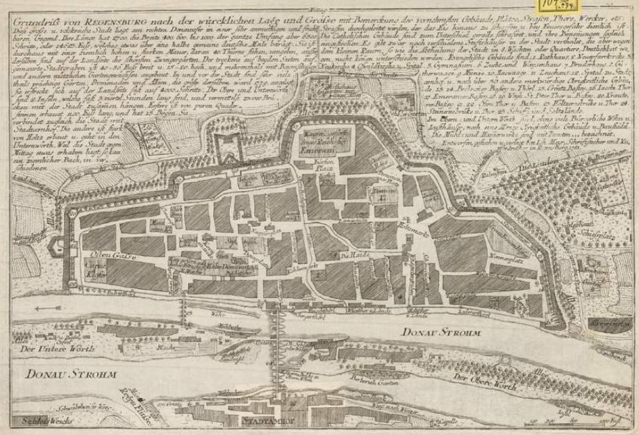 1781 mayr grundriss regensburg mit gebaeude beschreibung