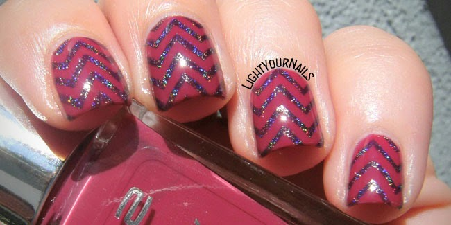 Purple and blue holographic chevrons nail art