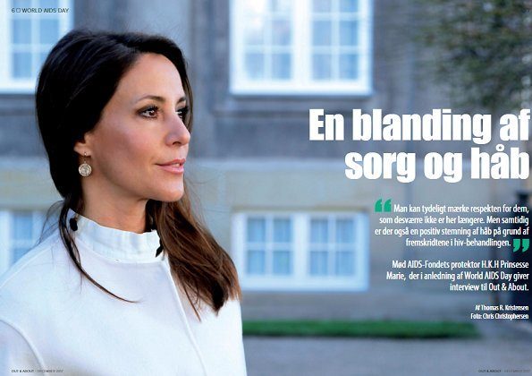 Danish Magazine Out & About made a special interview with Princess Marie of Denmark on the occasion of World AIDS Day