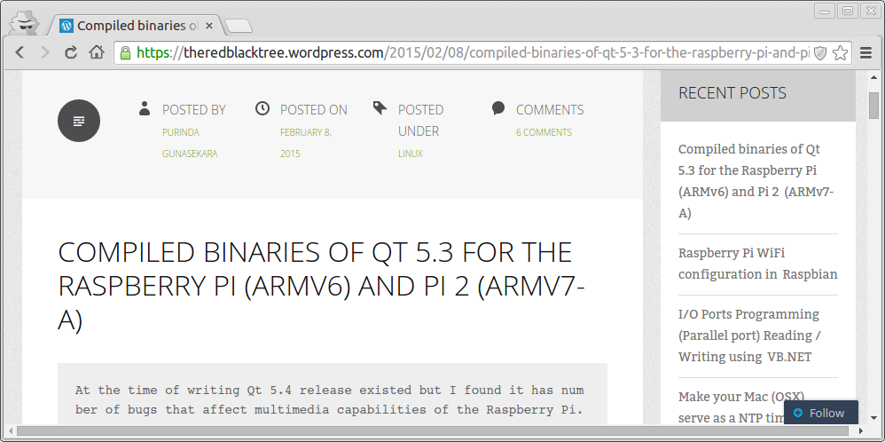 Compiled binaries of Qt 5 3 for the Raspberry Pi   Hello