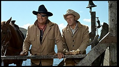 La Boeuf and Rooster Cogburn True Grit 1969 movieloversreviews.filminspector.com