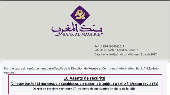 بنك المغرب: مباراة توظيف 10 أعوان أمن؛ آخر جل هو 21 غشت 2017