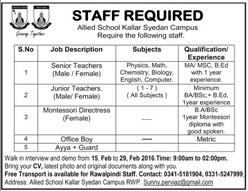 Teachers Jobs in Allied Schools Kallar Syedan Rawalpindi