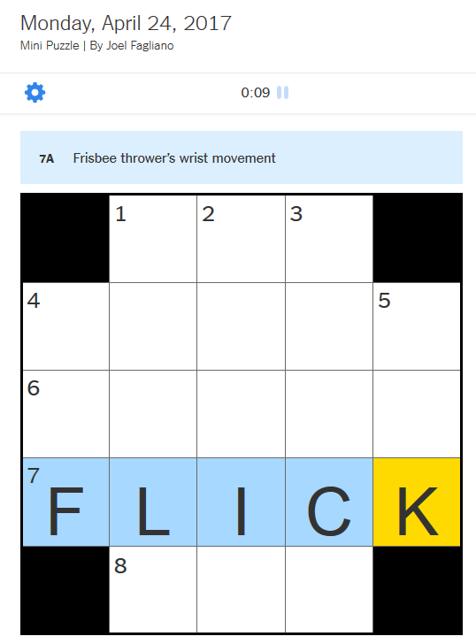 Sludge Output Nyt Mini Puzzle Includes A Frisbee Related Clue