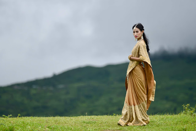 Celebrating #CraftsvillaWorldEthnicDay in a Crafstvilla Golden Saree.