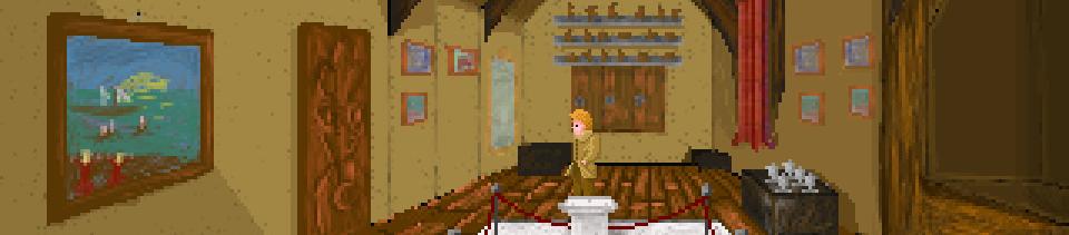 Un hombre está en una habitación en la que hay un soporte vacío rodeado por un cordón de terciopelo.